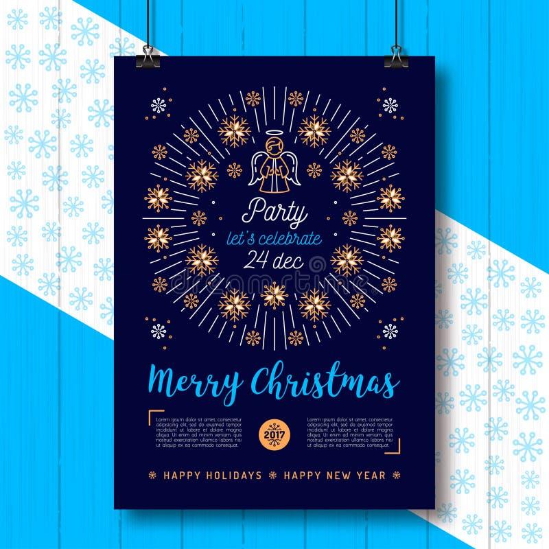Affiche de Noël, insecte de partie de Noël, plaquette religieuse Ange, icônes de flocons de neige illustration libre de droits