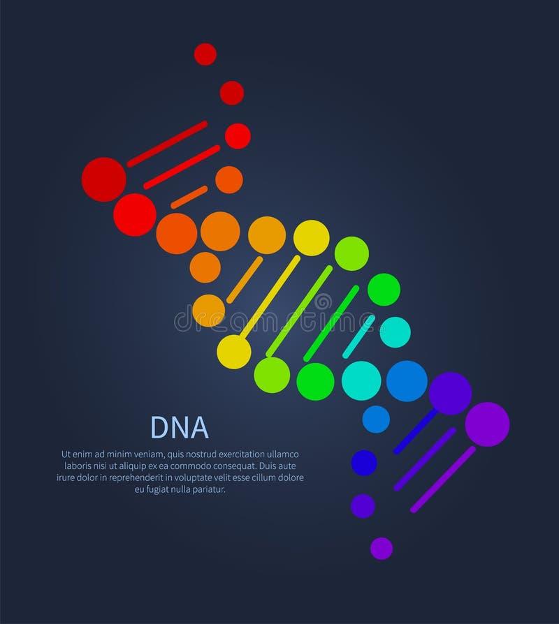 Affiche de nucléotides de chaîne d'acide désoxyribonucléique d'ADN illustration stock