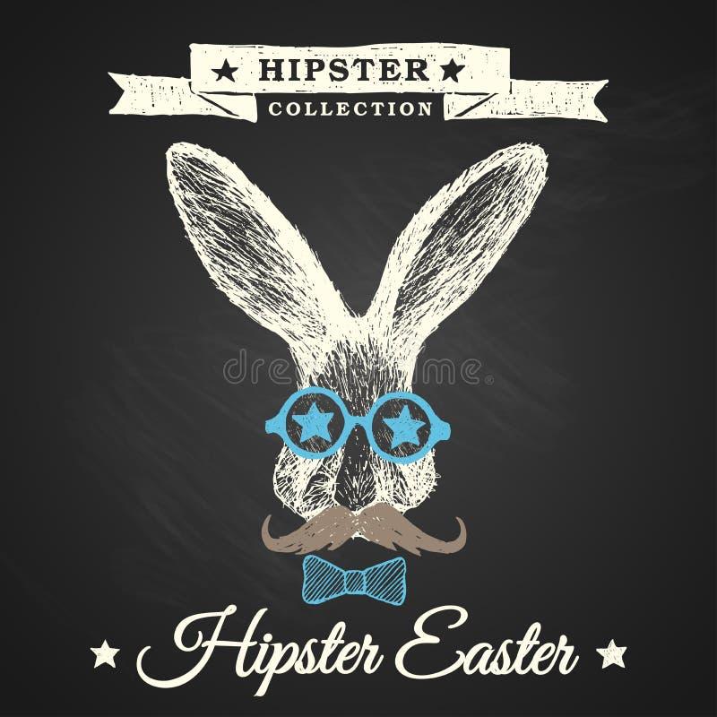 Affiche de Pâques de hippie avec le lapin. illustration stock