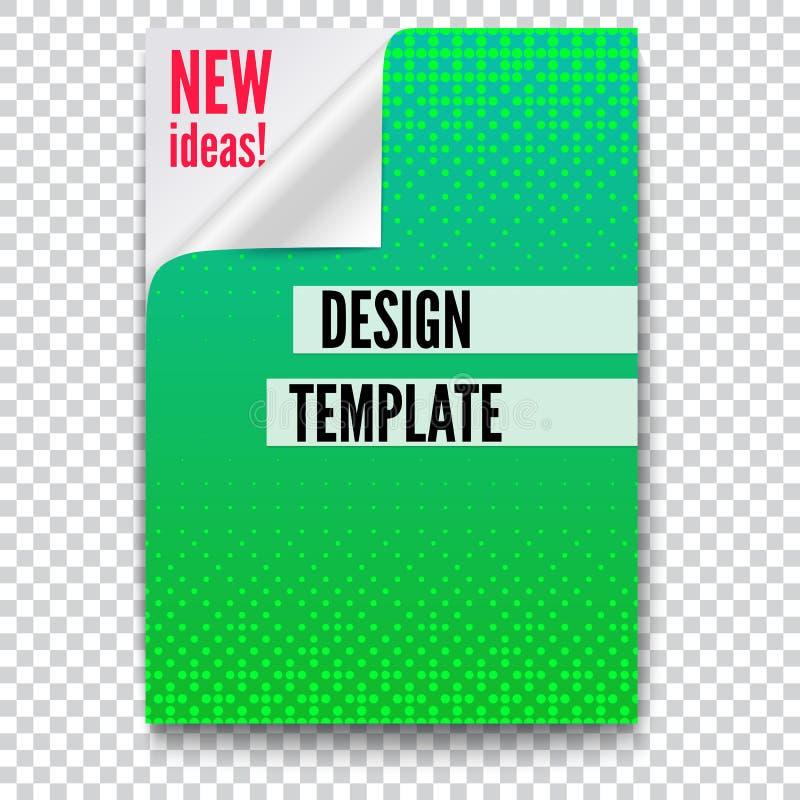 Affiche de papier avec l'idée créative et coin incurvé sur le fond transparent Calibre de disposition dans A4 la taille, affaires illustration stock