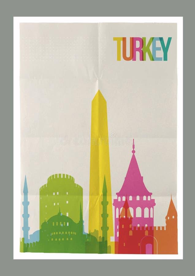 Affiche de papier de vintage de points de repère de la Turquie de voyage illustration libre de droits