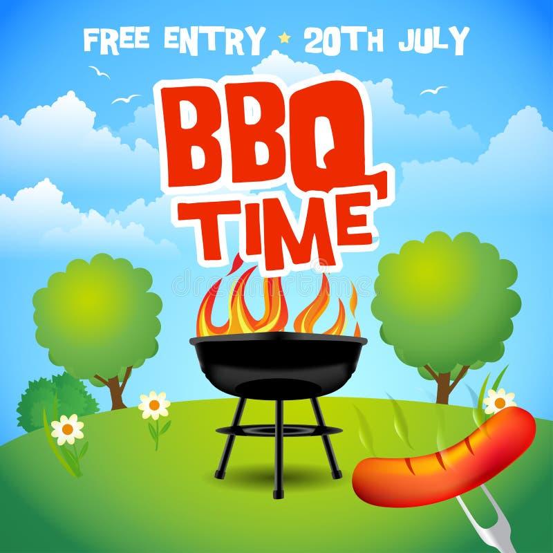 Affiche de partie d'été de barbecue Illustration de gril de barbecue Invitation de partie de barbecue Illustration de conception  illustration de vecteur