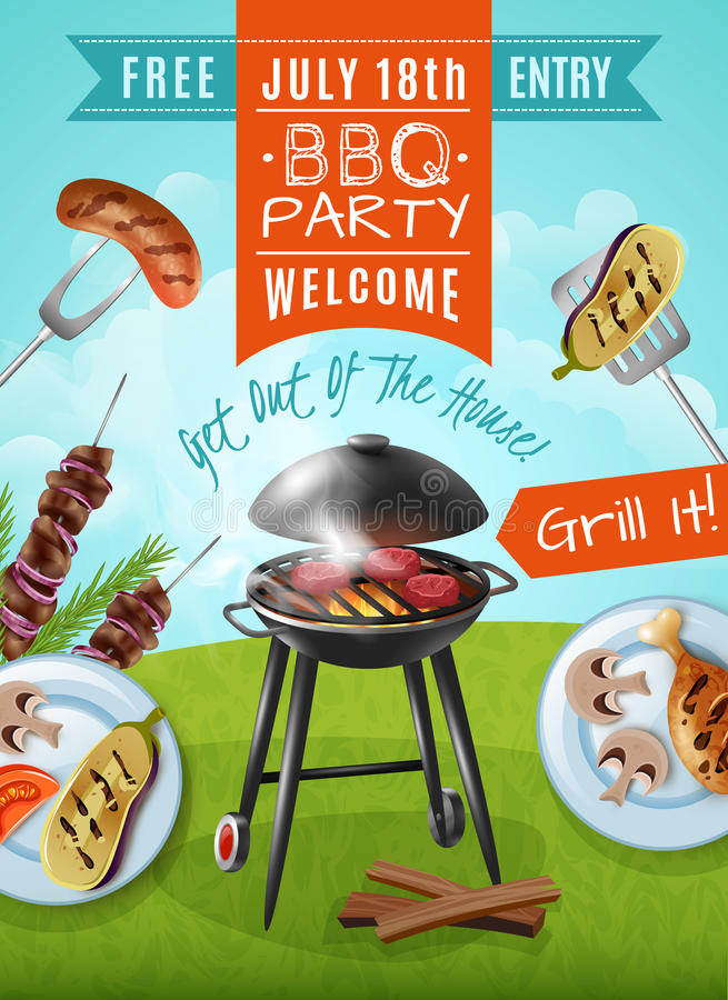 Affiche de partie de barbecue illustration de vecteur