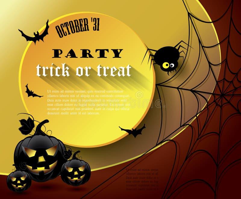 Affiche de partie de Halloween avec le message Illustration de vecteur illustration libre de droits