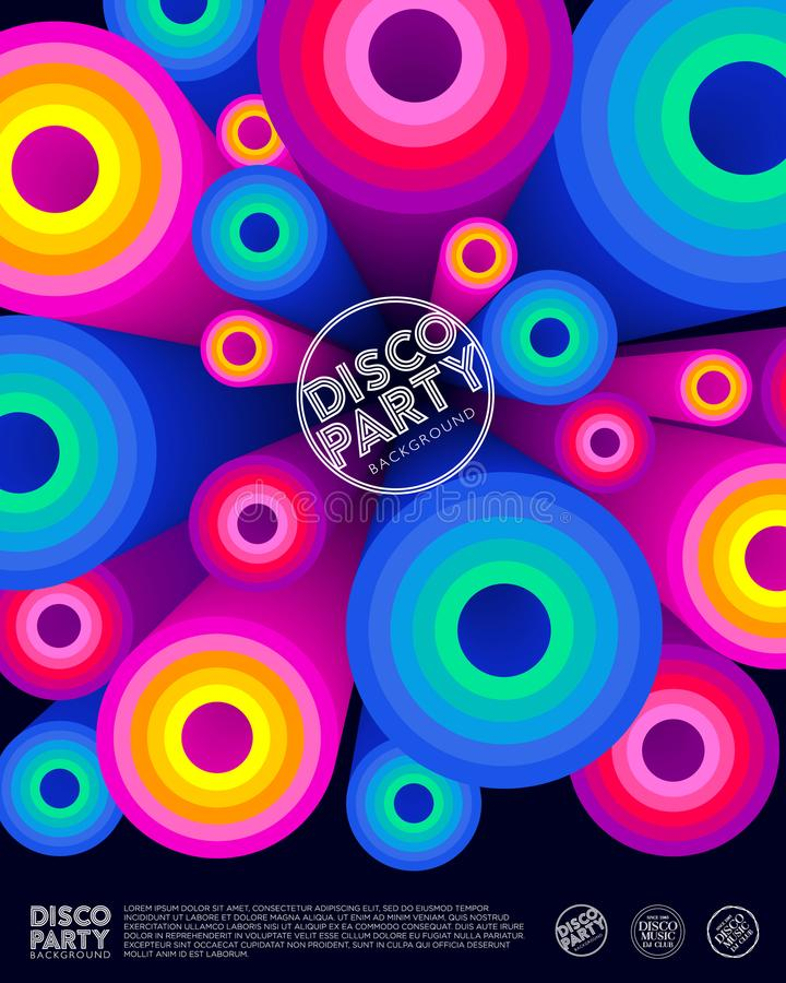 Affiche de partie de disco Carte _1 d'invitation Cercles colorés et lettres illustration stock