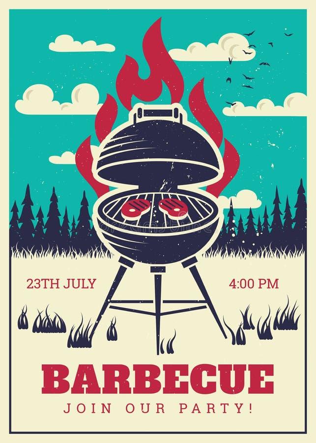 Affiche de partie de gril de BBQ de vintage Hamburgers grillés délicieux, carte d'invitation de vecteur de barbecue de famille illustration libre de droits