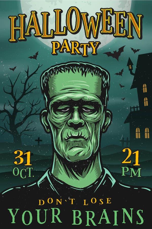 Affiche de partie de Halloween avec le monstre illustration libre de droits