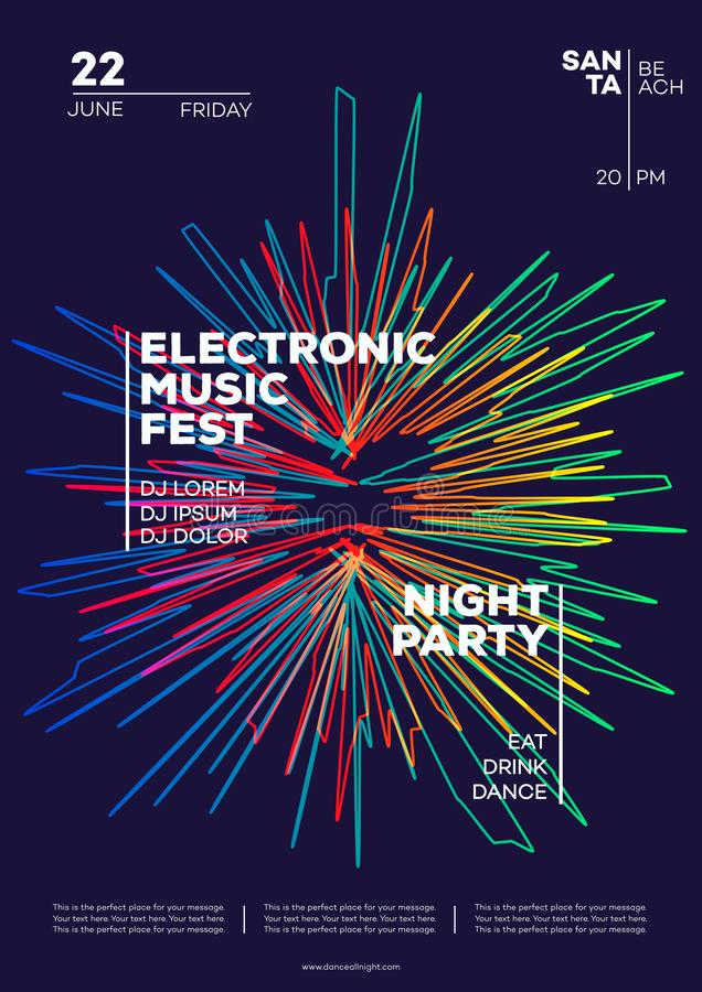 Affiche de partie de musique électronique Style moderne de minimaliste de gradients de club d'insecte à la mode de partie illustration de vecteur