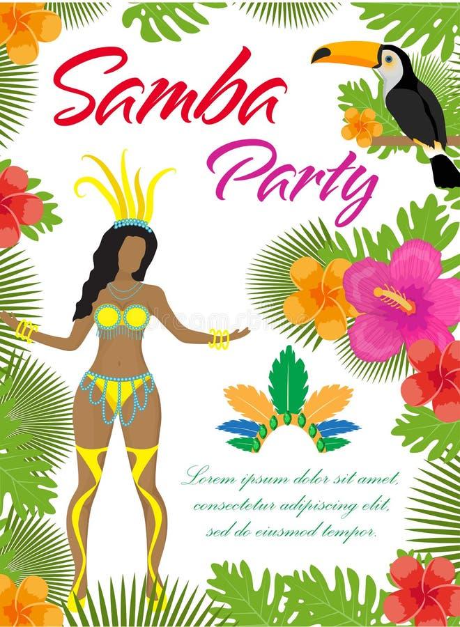Affiche de partie de samba, invitation, insecte Danseur brésilien, plantes tropicales, perroquet, toucan, fleurs Carnaval du Brés illustration libre de droits