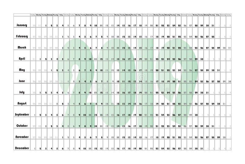 Affiche 6000-4000 de paysage de planificateur du mur Green-2019 illustration stock