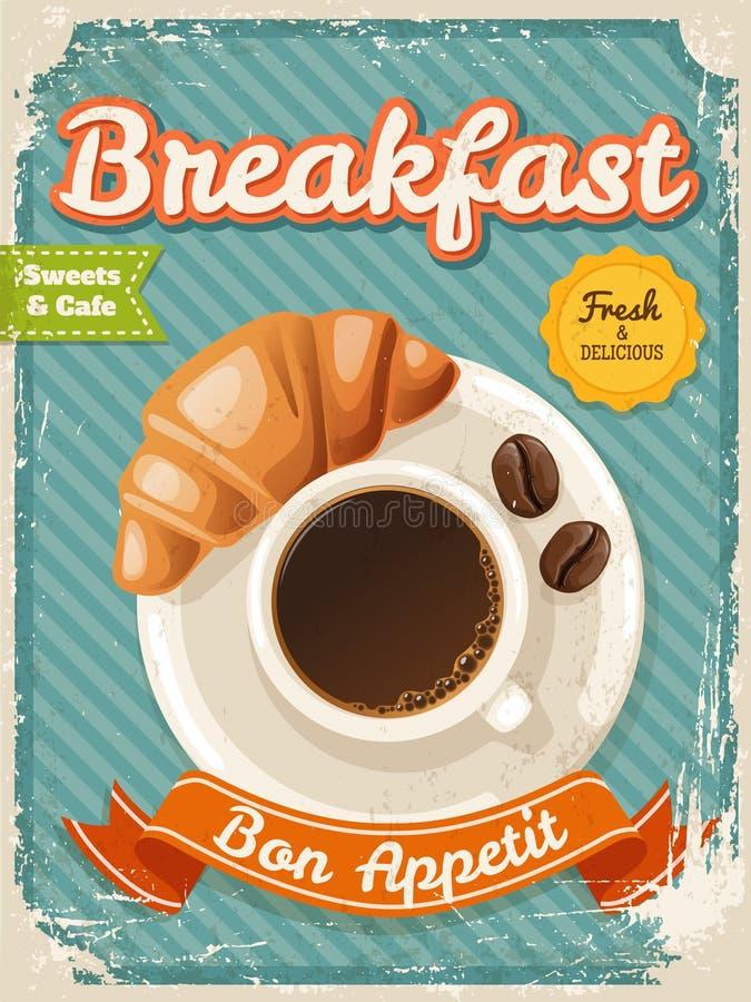 Affiche de petit déjeuner de café de vecteur dans le style de cru avec des éléments de typographie illustration de vecteur
