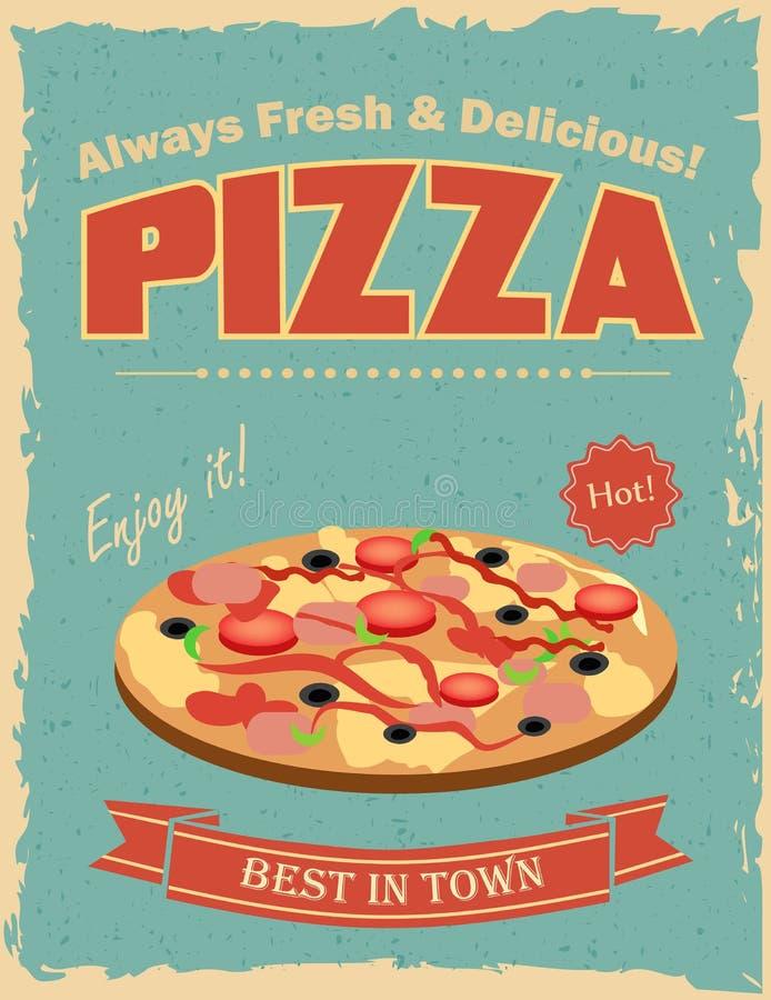 affiche de pizza de vintage illustration de vecteur illustration du vieux graphisme 59921518. Black Bedroom Furniture Sets. Home Design Ideas