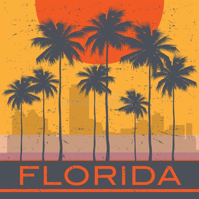 Affiche de plage de côte de la Floride illustration stock