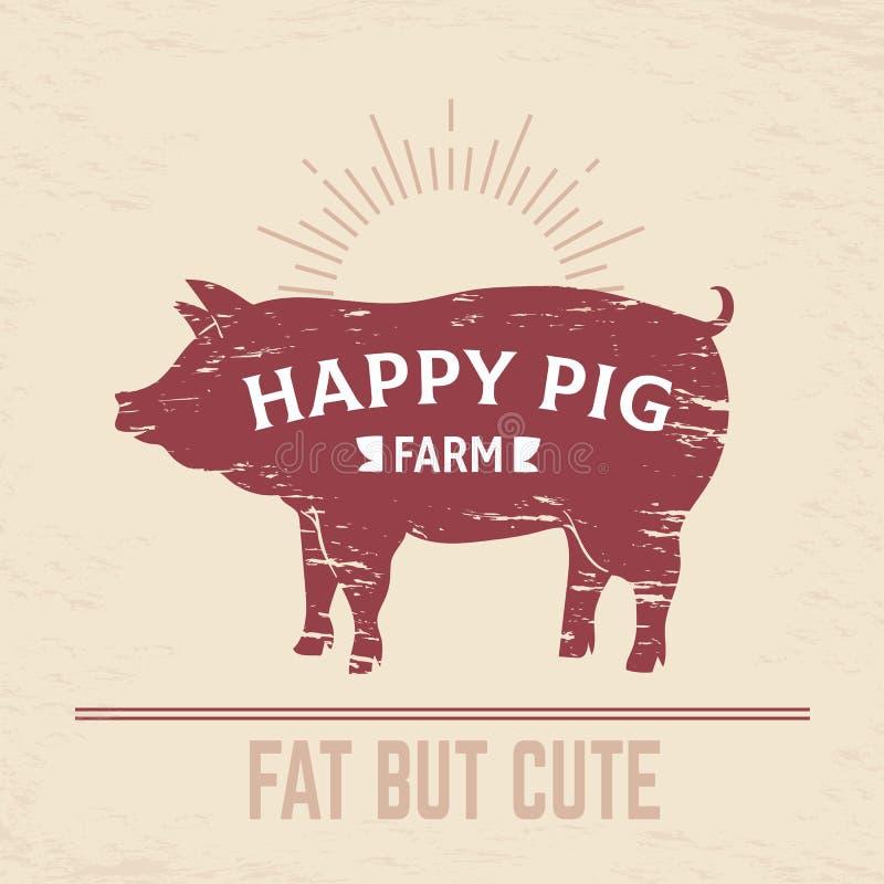 Affiche de porc de boucher Logo de porc de BBQ de cru, emblème de boucher de cru d'animal de ferme, bannière de menu de viande Di illustration stock