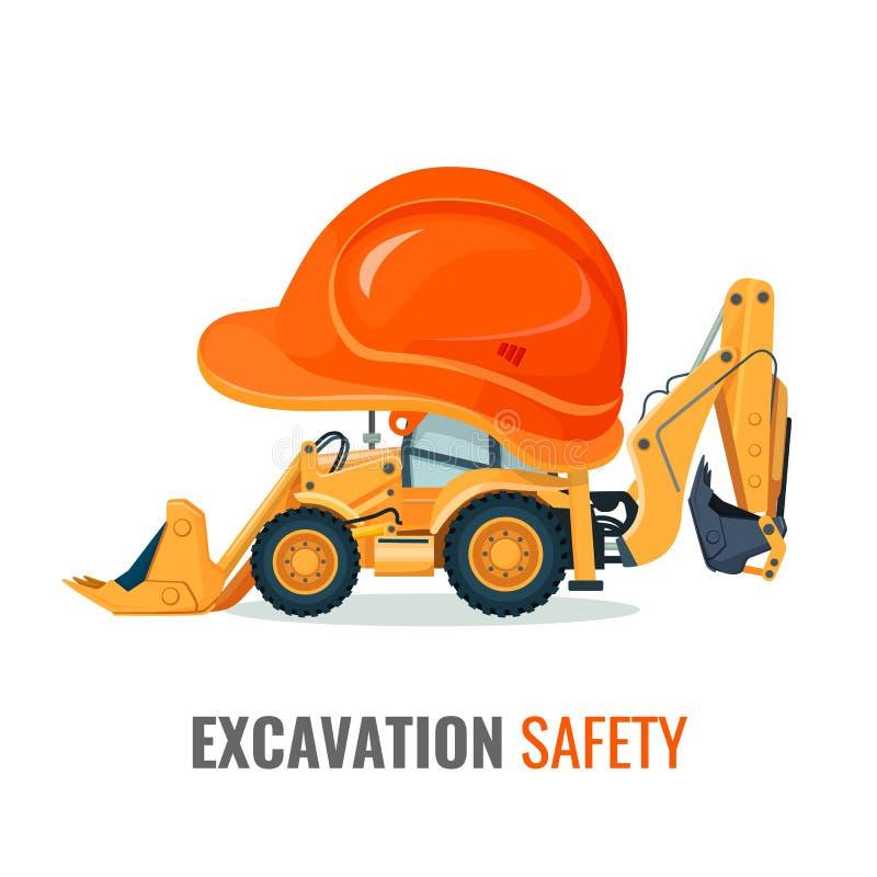 Affiche de promo de sécurité d'excavation avec l'excavatrice dans le casque illustration de vecteur