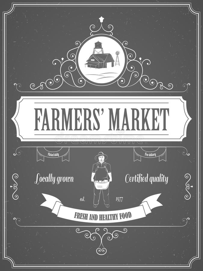 Affiche de publicité de vintage du marché d'agriculteurs illustration libre de droits