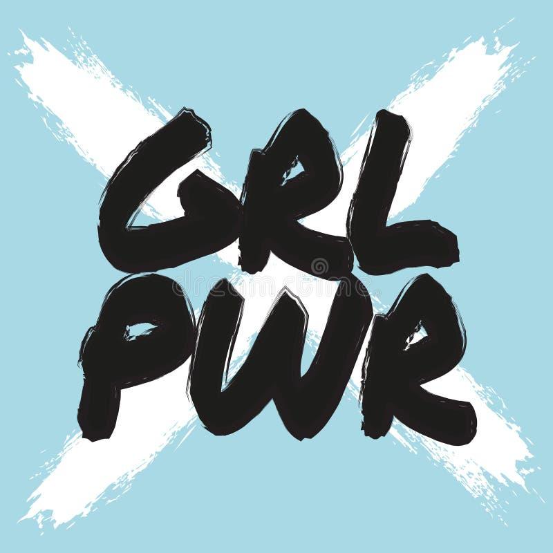Affiche de puissance de fille Copie féministe de vecteur Citation girly blanche bleue fraîche de slogan Copie de T-shirt de lettr illustration libre de droits