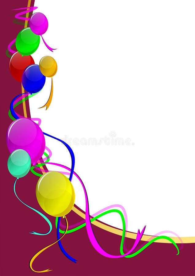 Affiche de réception avec des ballons images stock