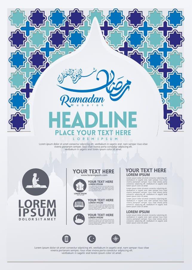 Affiche de Ramadan Kareem, calibre de brochure et d'autres utilisateurs, fond islamique de bannière illustration libre de droits