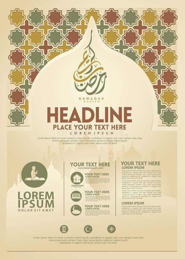 Affiche de Ramadan Kareem, calibre de brochure et d'autres utilisateurs, fond islamique de bannière illustration stock