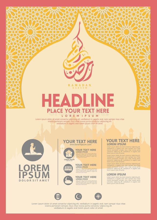 Affiche de Ramadan Kareem, calibre de brochure et d'autres utilisateurs, fond islamique de banni?re illustration libre de droits