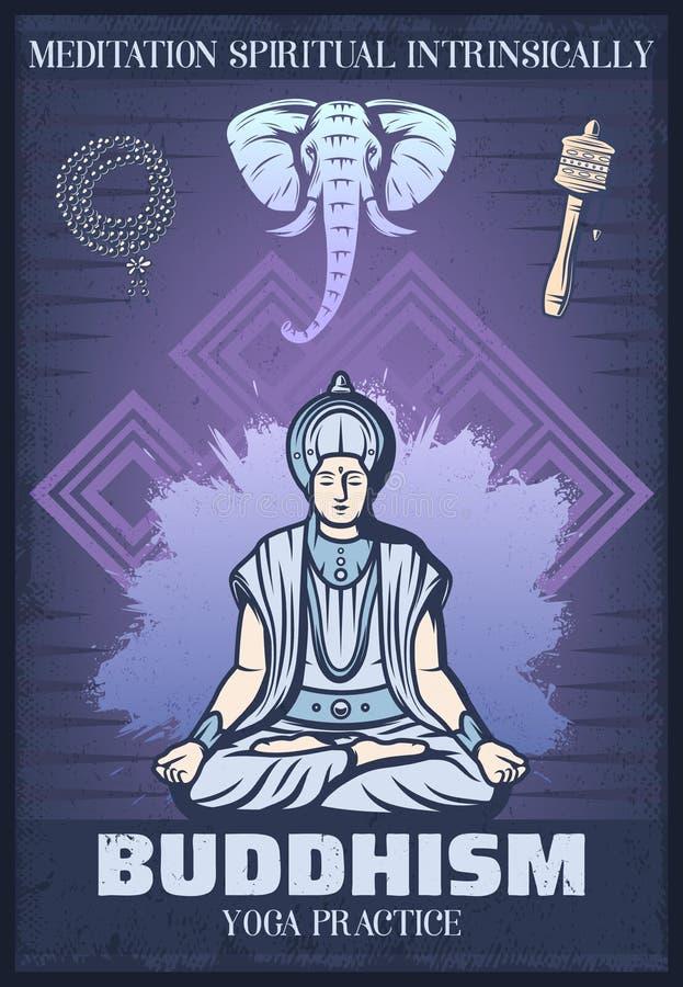 Affiche de religion de bouddhisme colorée par vintage illustration de vecteur