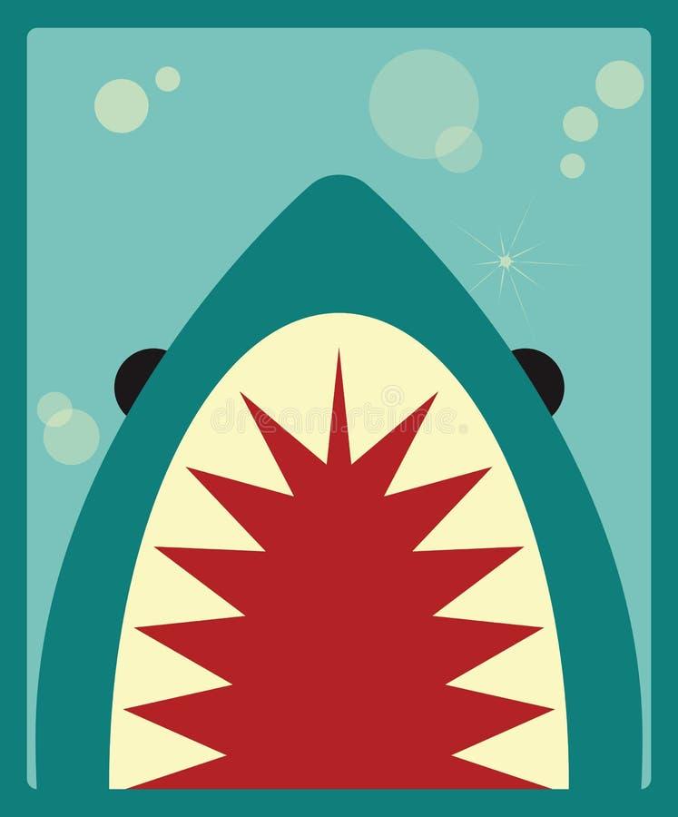 Affiche de requin sur le fond vert illustration stock