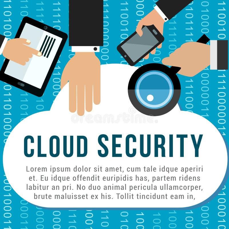 Affiche de sécurité de nuage pour la conception de stockage de données illustration libre de droits
