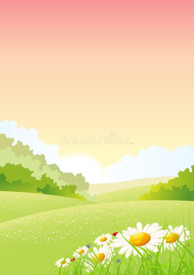 Affiche de saisons d'été ou de matin de source illustration stock