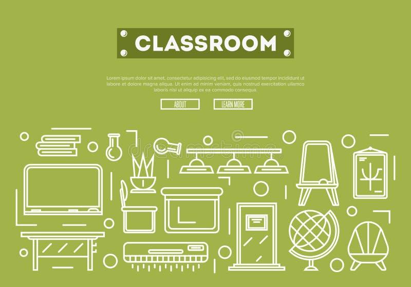 Affiche de salle de classe d'école dans le style linéaire illustration de vecteur