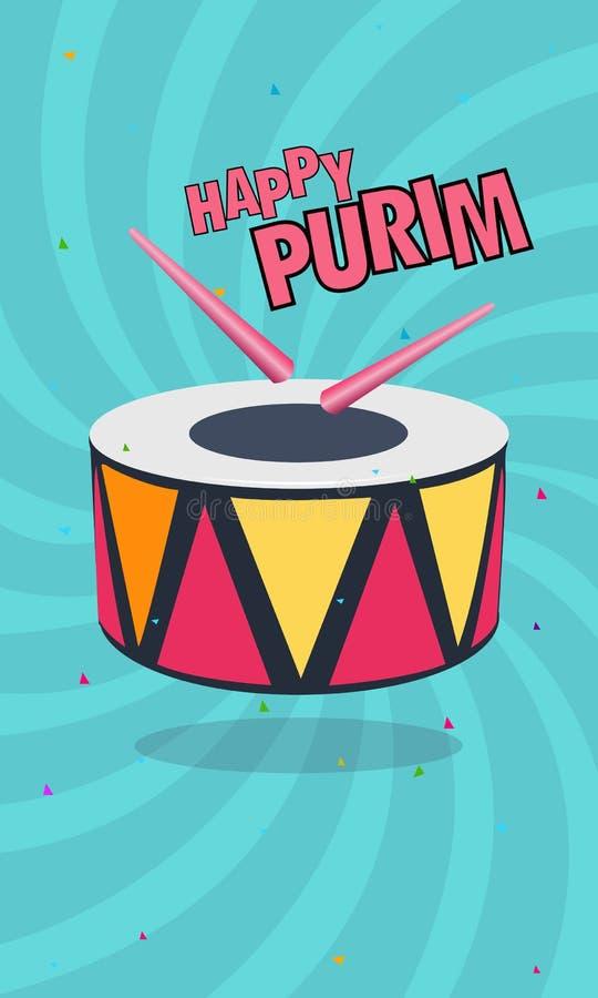 Affiche de salutation de concept de célébration de Purim, ensemble abstrait de fête de bannières de conception de vacances juives illustration libre de droits