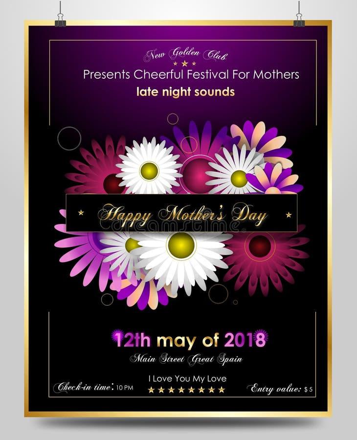 Affiche de salutation de jour de mères avec les fleurs élégantes jaunes illustration stock