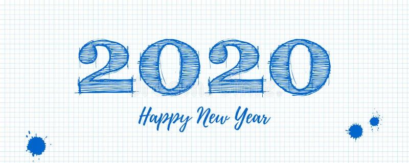 Affiche de salutation de la bonne année 2020 Lettrage manuscrit d'encre sur la feuille de graphique d'école de papier blanche, gr illustration libre de droits