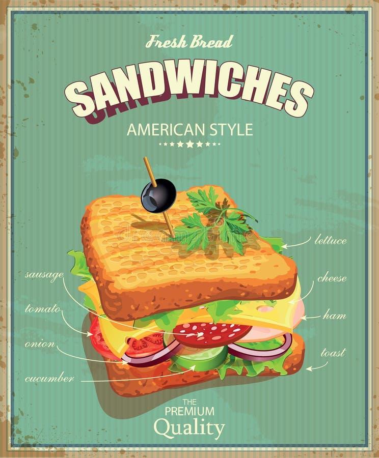 Affiche de sandwich dans le style de vintage illustration for Affiche cuisine retro