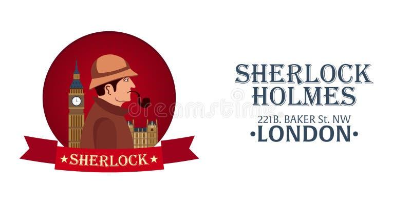 Affiche de Sherlock Holmes Illustration révélatrice Illustration avec Sherlock Holmes Rue 221B de Baker Londres GRANDE INTERDICTI illustration libre de droits