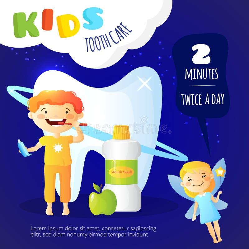 Affiche de soins dentaires d'enfants illustration de vecteur