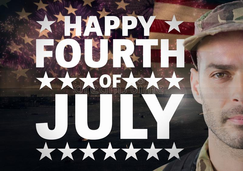 Affiche de soldat devant le fond de drapeau américain pour le jour national photos libres de droits