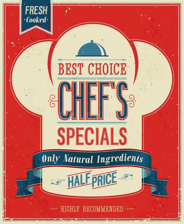 Affiche de specials du ` s de chef de vintage. illustration libre de droits