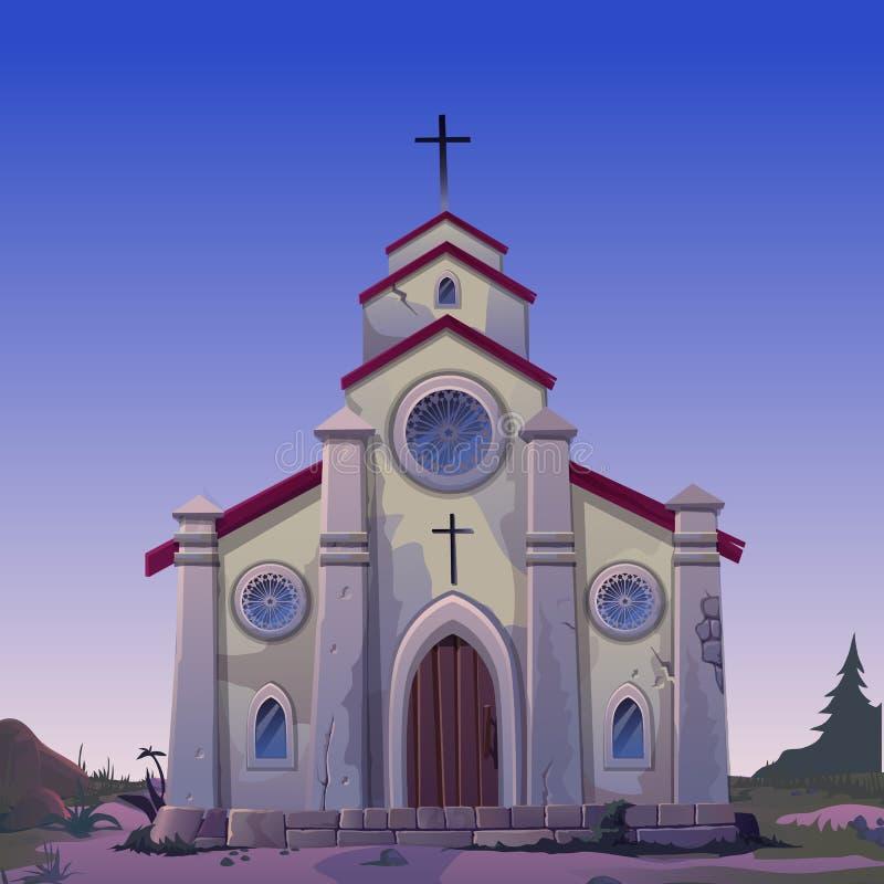 Affiche in de stijl van Wilde Westennen Oud gemaakt van steen Katholieke Kerk in de nacht Uitstekende architectuur in stijl van W stock illustratie