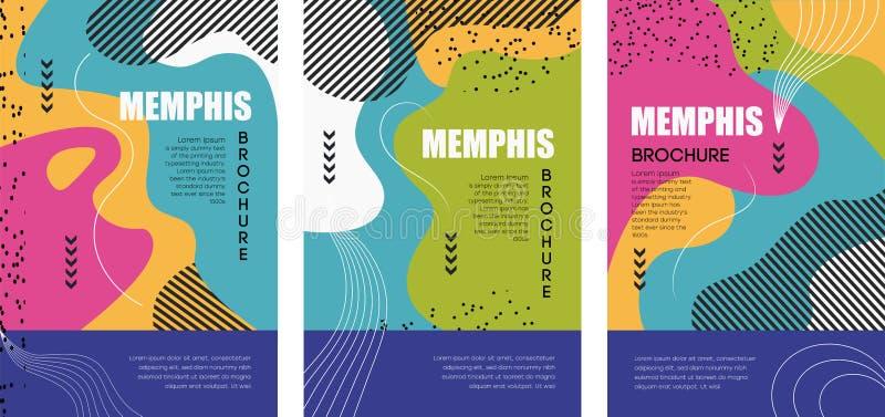 AFFICHE 12 de stijlbrochures van Memphis en Hipster-met kleurrijke geometrische elementen royalty-vrije illustratie