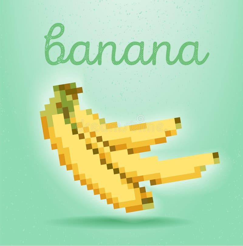 affiche de style de Pixel-art avec le fruit de banane sur le backgrou vert clair illustration stock