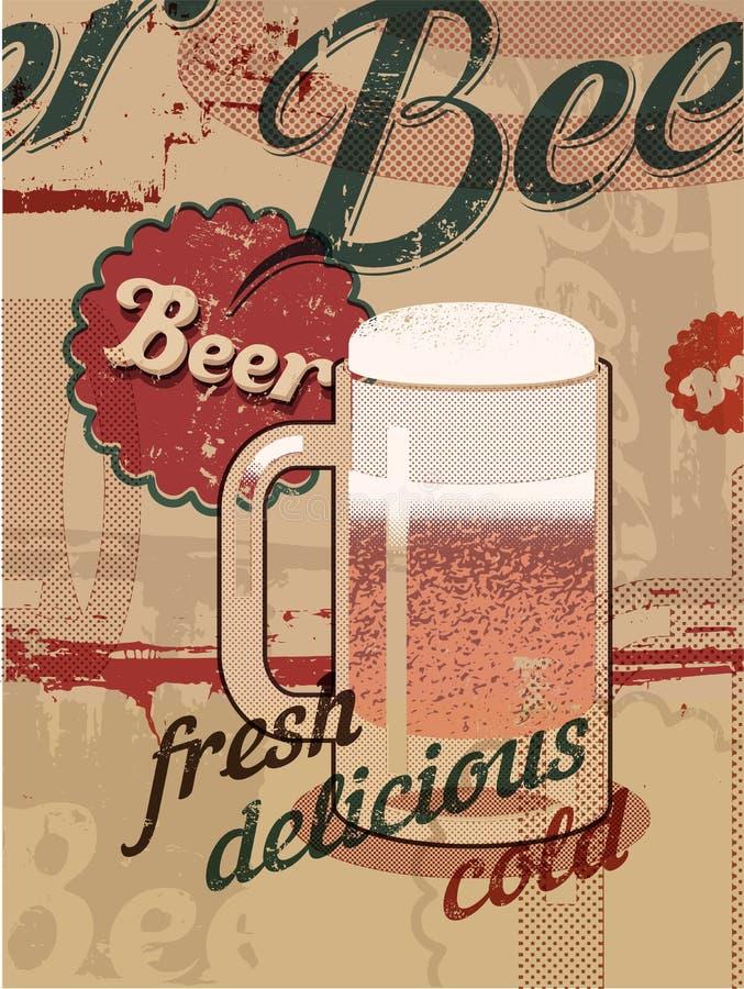 Affiche de style de vintage avec une tasse de bière Rétro affiche de bière de vecteur illustration stock