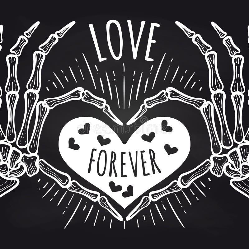 Affiche de tableau d'amour avec les mains squelettiques illustration de vecteur