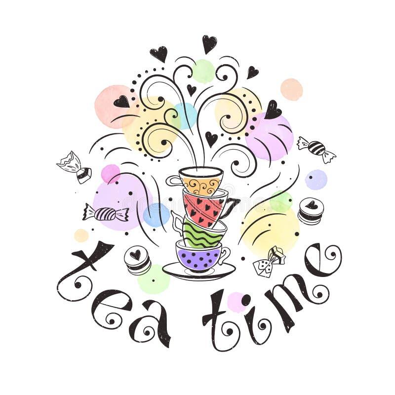 Affiche de temps de thé illustration libre de droits