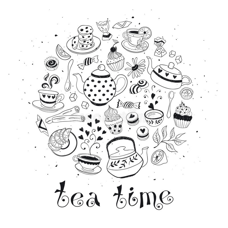 Affiche de temps de thé illustration de vecteur