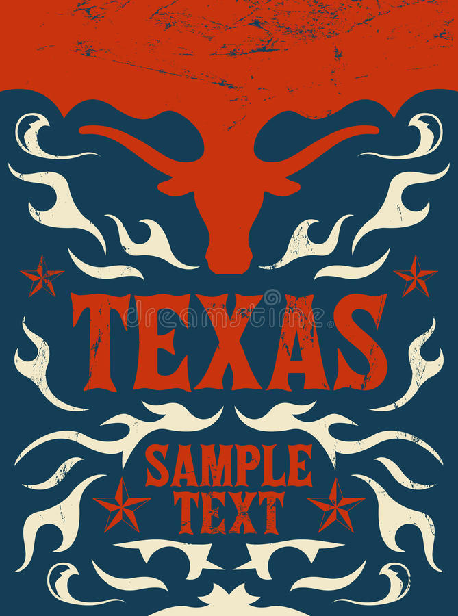 Affiche de Texas Vintage - carte - occidentale - cowboy illustration stock