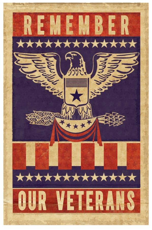 Affiche de timbre de jour de vétérans illustration de vecteur