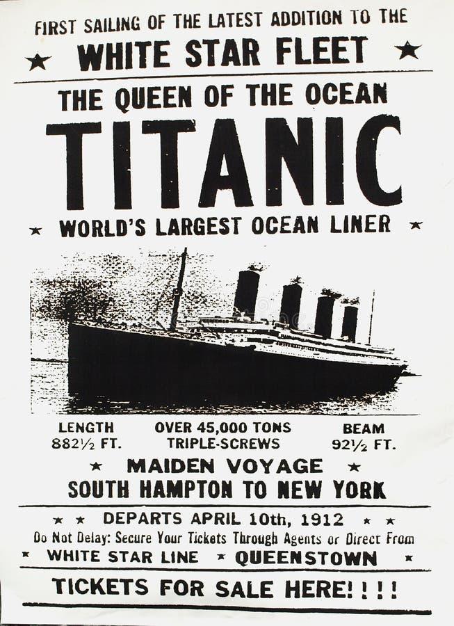 Affiche de Titantic image stock