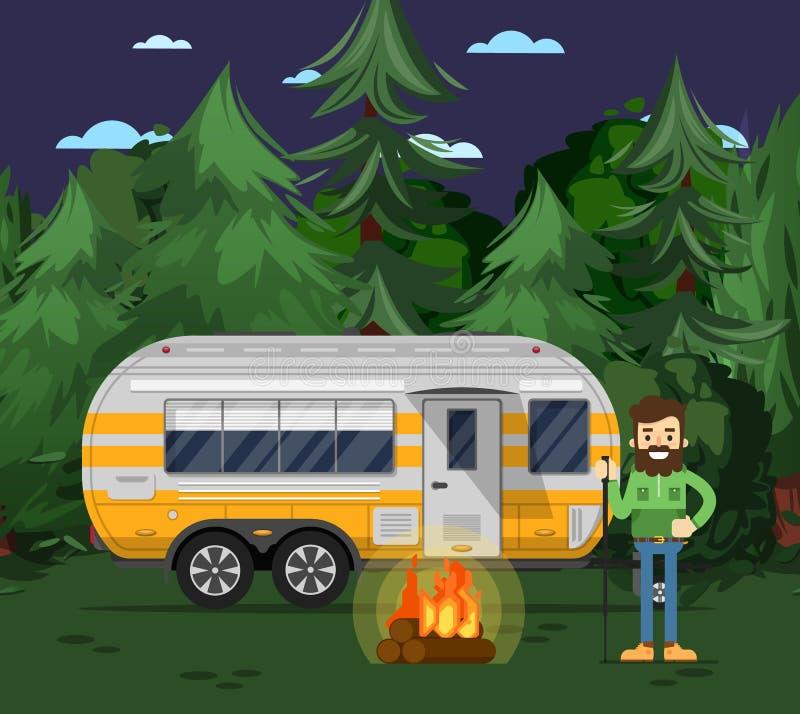 Affiche de touristes de camp avec la remorque de voyage illustration libre de droits