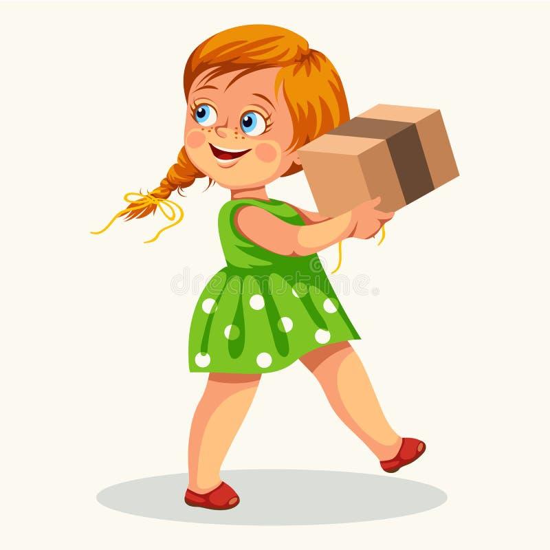 Affiche de transport mignonne de boîte en carton de petite fille illustration stock
